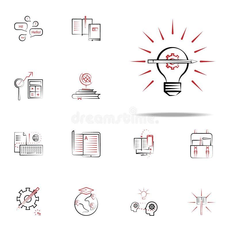 kreatywnie proces ikona Edukacj ikon ogólnoludzki ustawiający dla sieci i wiszącej ozdoby royalty ilustracja