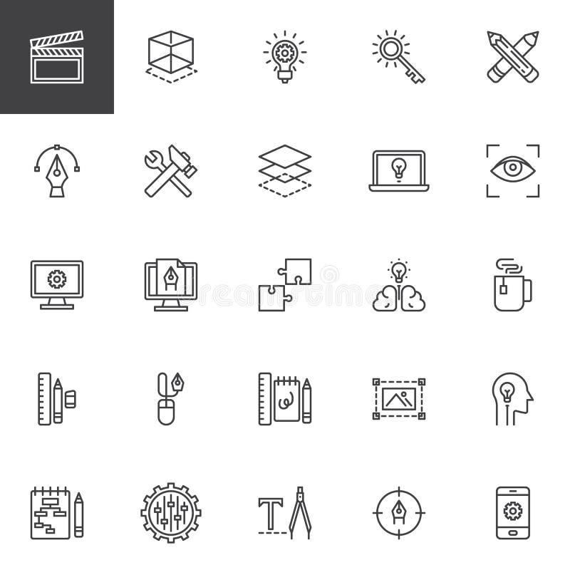 Kreatywnie proces projekta linii ikony ustawiać ilustracja wektor