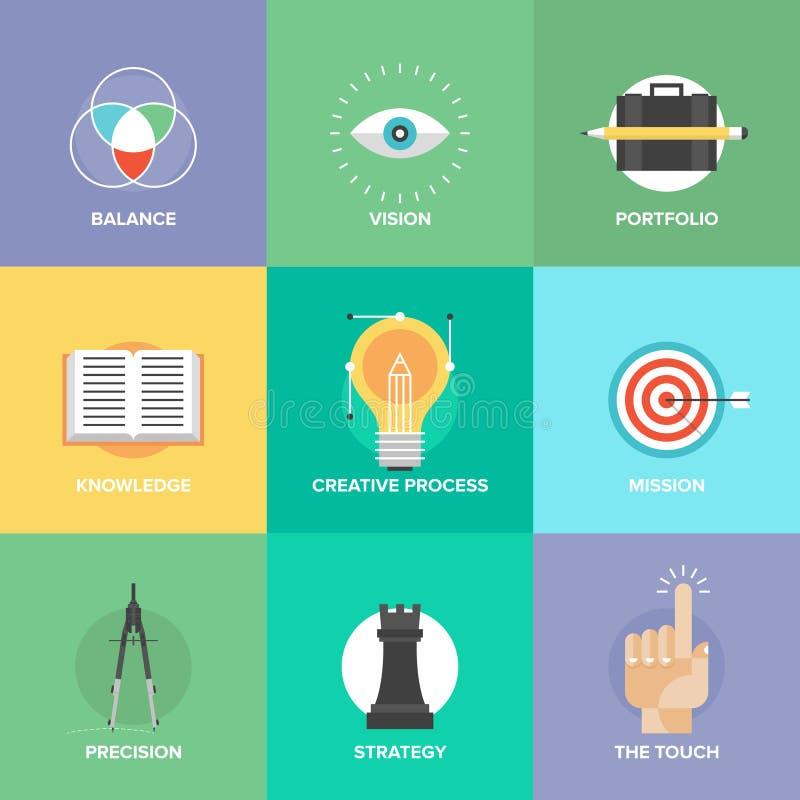 Kreatywnie projektów elementów mieszkania ikony ilustracji