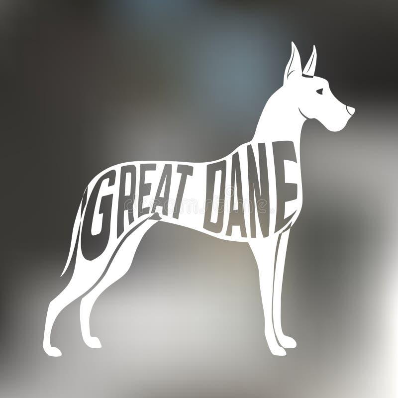 Kreatywnie projekt Great dane trakenu psa sylwetka ilustracja wektor