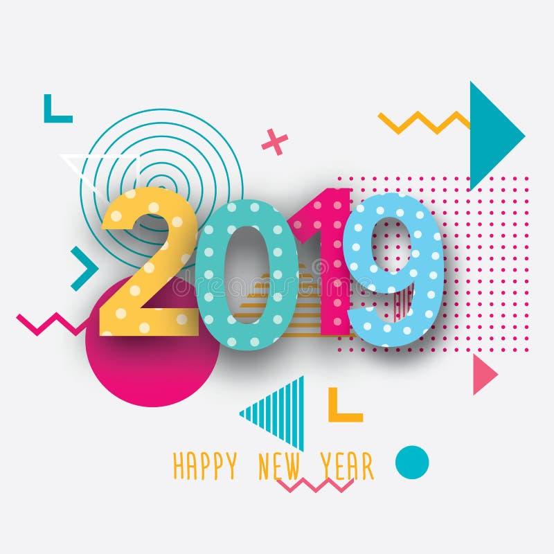 Kreatywnie projekt nowego roku ` s karta w 2018 na nowożytnym tle ilustracji