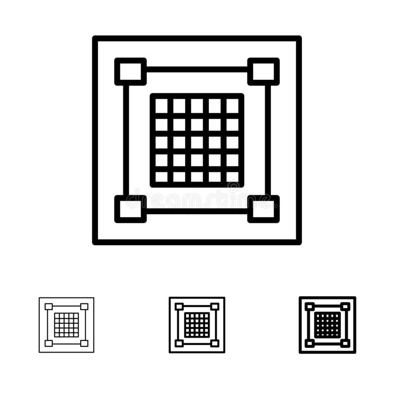 Kreatywnie, projekt, projektant, grafika, siatka czerni linii ikony set, Śmiały i cienki ilustracji