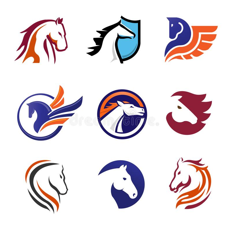 kreatywnie prosta nowożytna końska logo kolekcja ilustracji
