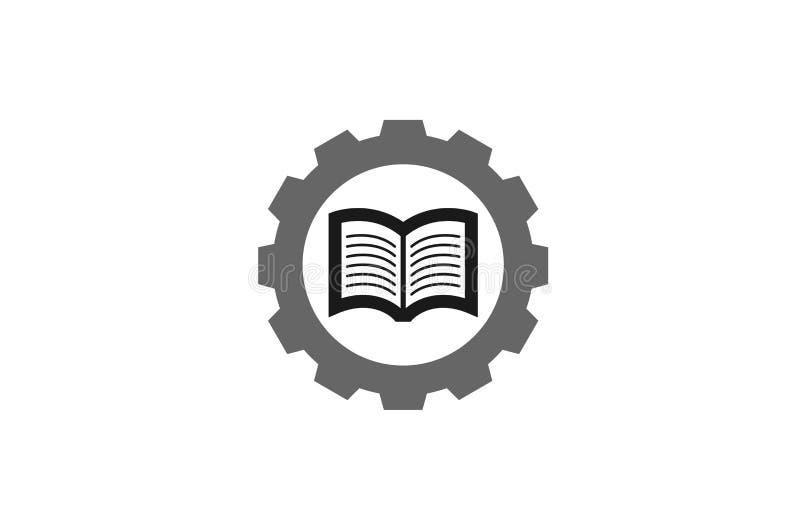 Kreatywnie przekładni książki logo projekta ilustracja royalty ilustracja