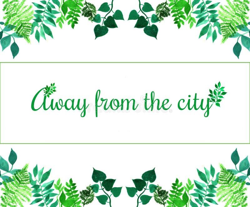 Kreatywnie rama dla plakata, sztandar, karty Wycena Zdala od miasta Wibrująca ręka malujący akwarela ziołowi elementy Zielony l royalty ilustracja
