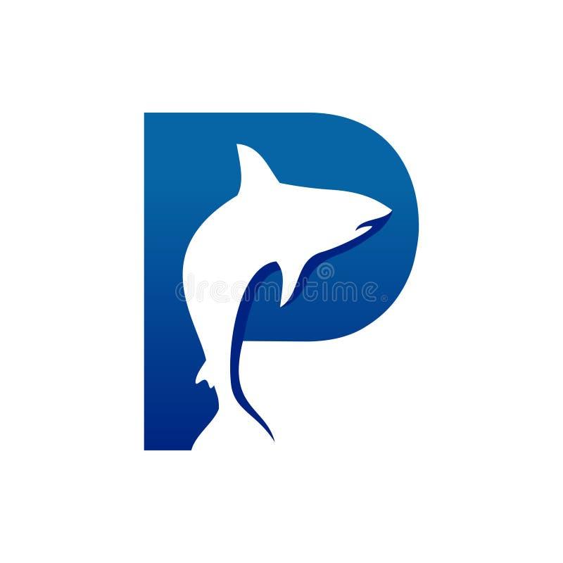Kreatywnie Rybi kształta inicjału P Lettermark symbolu projekt royalty ilustracja