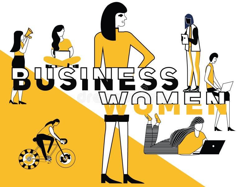 Kreatywnie słowa pojęcia Biznesowa kobieta i ludzie robi rzeczom royalty ilustracja