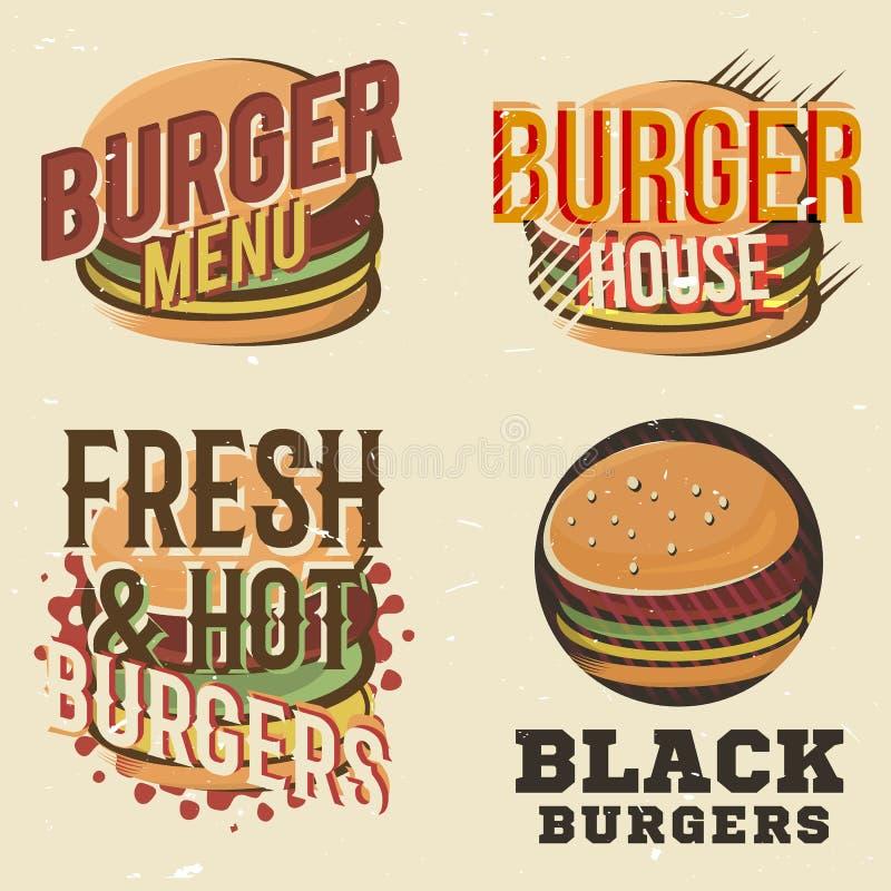 Kreatywnie set loga projekt z hamburgerem również zwrócić corel ilustracji wektora royalty ilustracja