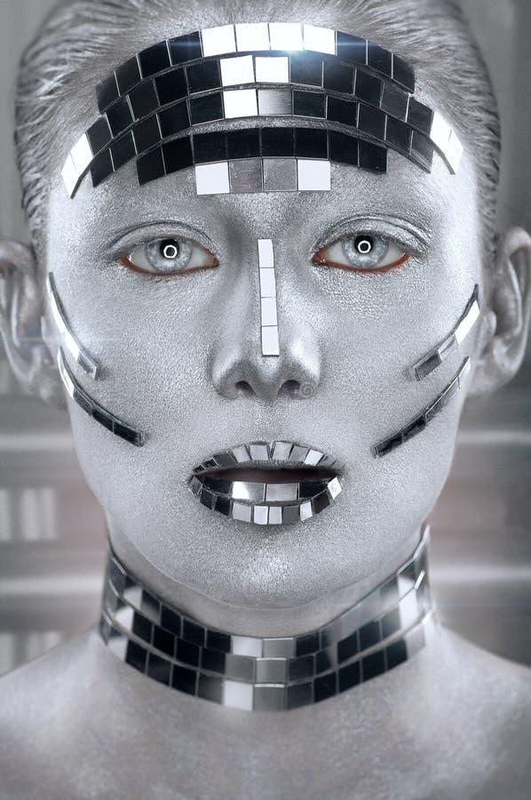 Kreatywnie srebny makeup z lustrem rozbija obraz royalty free