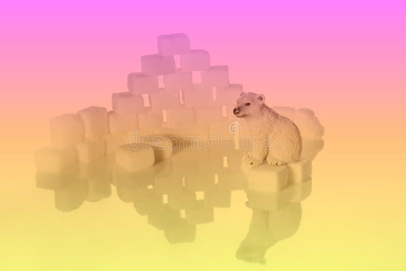 Kreatywnie strzały cukrowi sześciany i niedźwiedzie polarni zdjęcia stock
