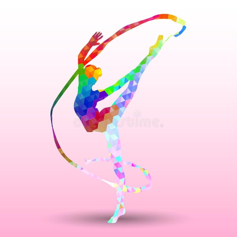 Kreatywnie sylwetka gimnastyczna dziewczyna ilustracja wektor