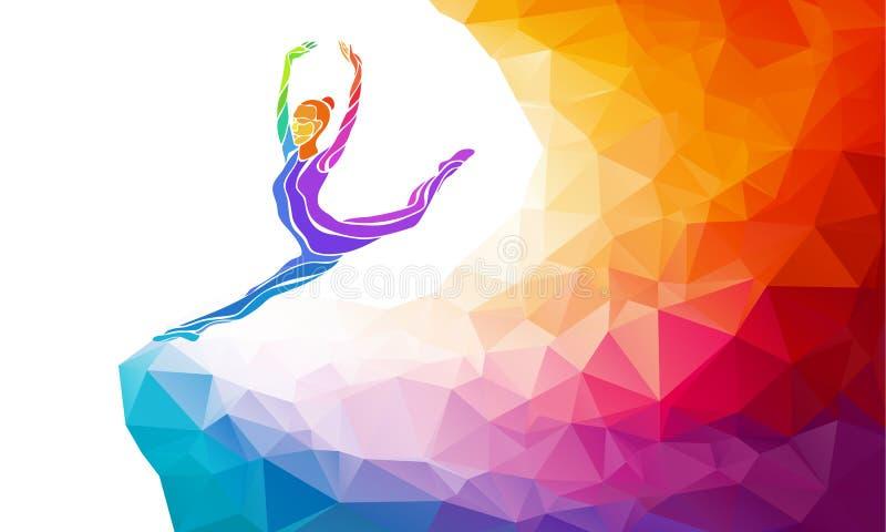 Kreatywnie sylwetka gimnastyczna dziewczyna przydatność royalty ilustracja