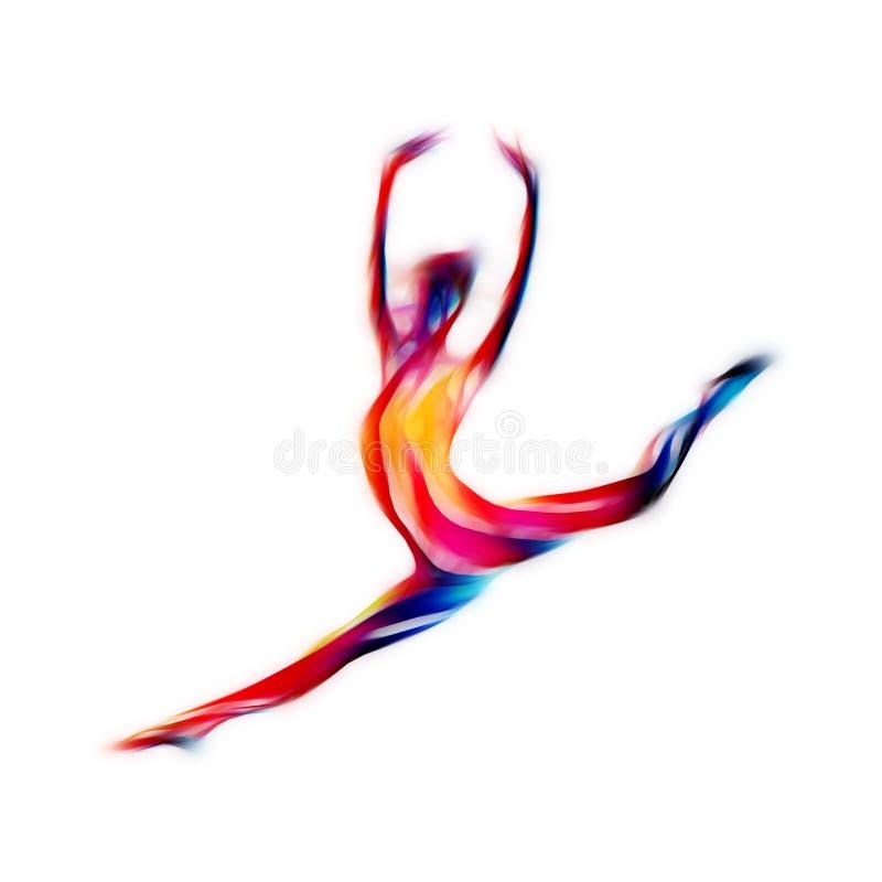 Kreatywnie sylwetka gimnastyczna dziewczyna Sztuk gimnastyki ilustracja wektor
