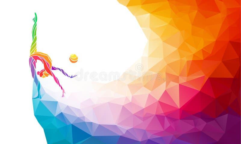 Kreatywnie sylwetka gimnastyczna dziewczyna sztuka royalty ilustracja