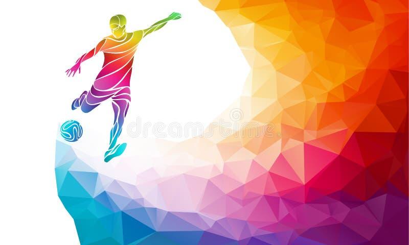 Kreatywnie sylwetka gracz piłki nożnej Gracz futbolu kopie piłkę w modnym abstrakcjonistycznym kolorowym wielobok tęczy plecy royalty ilustracja