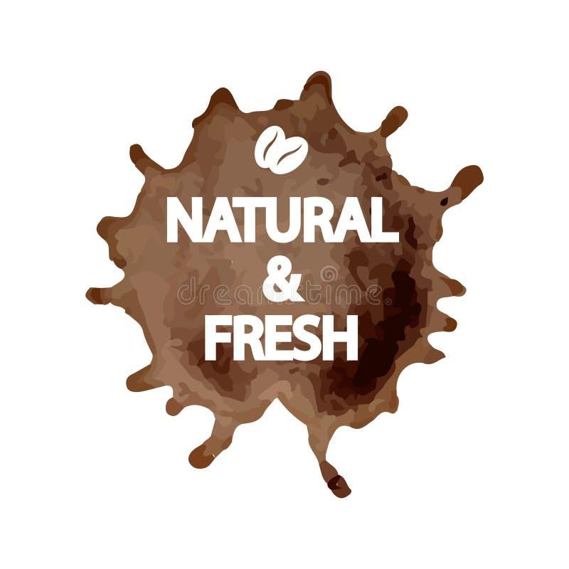 Kreatywnie szablon dla logo, reklamowa ulotka, promocyjny plakat w formie kawowy pluśnięcie z drukowanym literowaniem ilustracja wektor