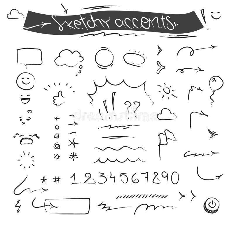Kreatywnie szkicowy symbolu wektoru set i akcenty royalty ilustracja