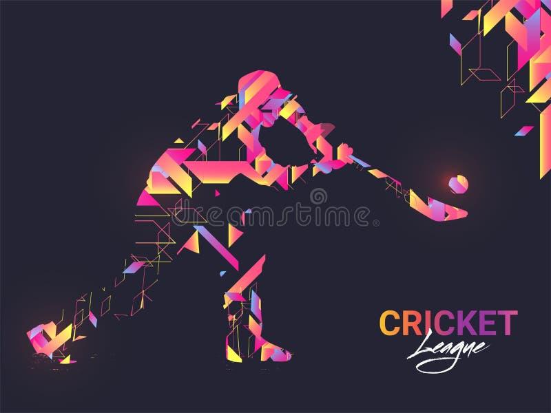 Kreatywnie sztandar lub plakatowy projekt z pałkarza charakterem w abstrakta stylu dla krykieta ilustracji
