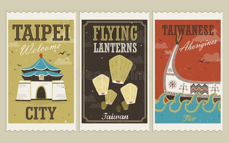 Kreatywnie Tajwańscy przyciągania i tradycyjni kultura znaczki royalty ilustracja