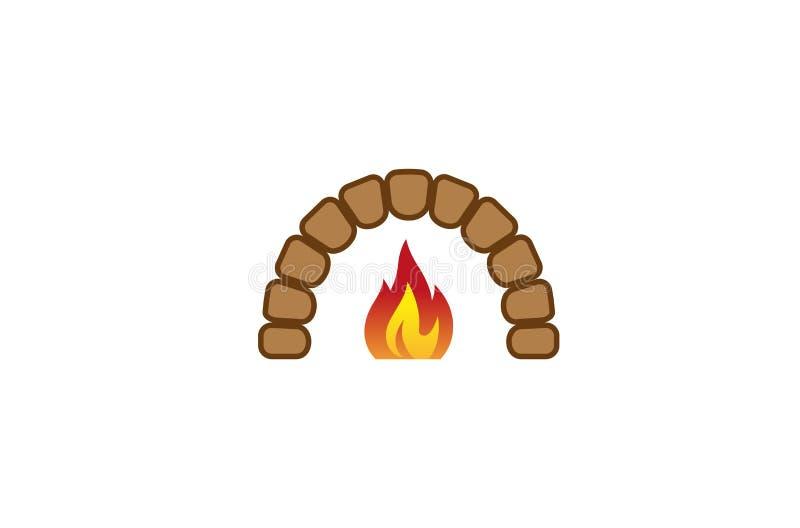 Kreatywnie Tradycyjna piekarnika ogienia logo projekta symbolu wektoru ilustracja royalty ilustracja