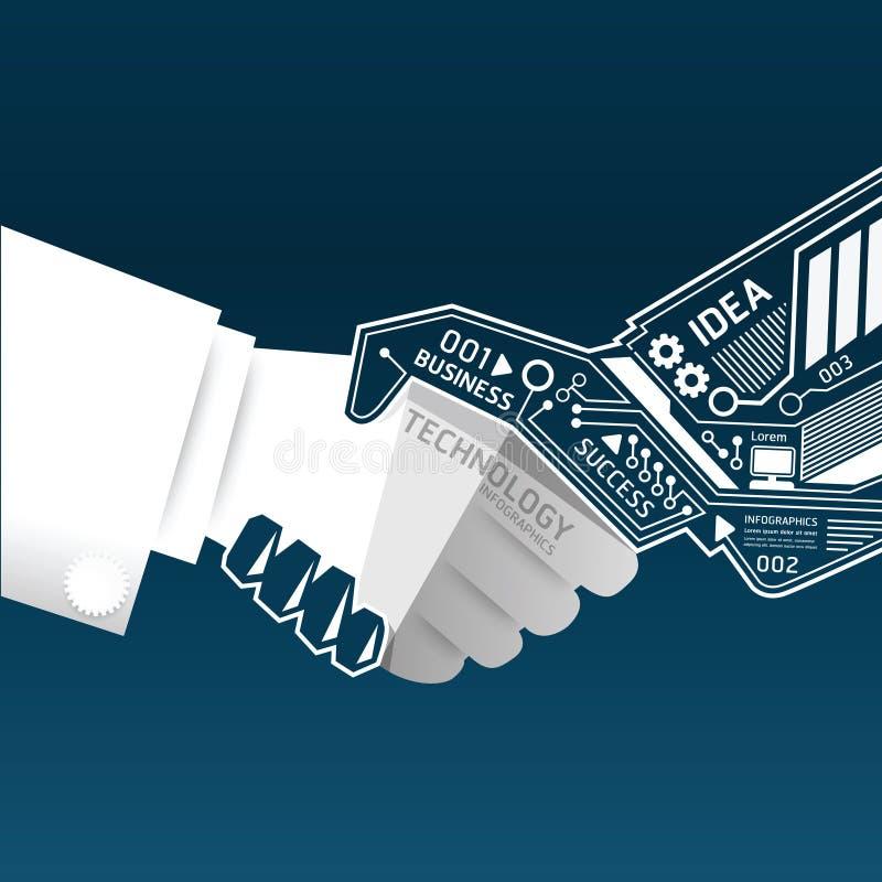 Kreatywnie uścisku dłoni obwodu abstrakcjonistyczna technologia inf ilustracja wektor