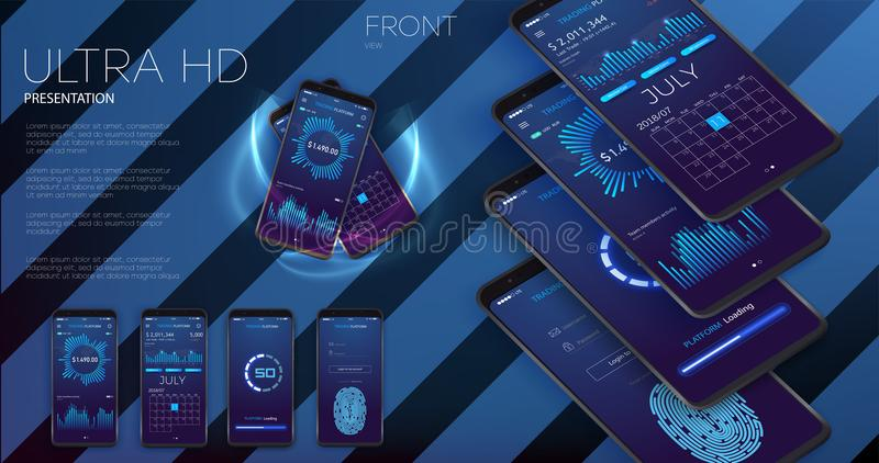 Kreatywnie UI, UX, GUI układ dla handlu elektronicznego, wyczulonej strony internetowej i mobilnych apps wliczając nazwy użytkown royalty ilustracja