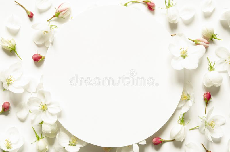 Kreatywnie układ lato świezi kwiaty z przestrzenią dla teksta na białej księdze Mockup na widok obraz stock