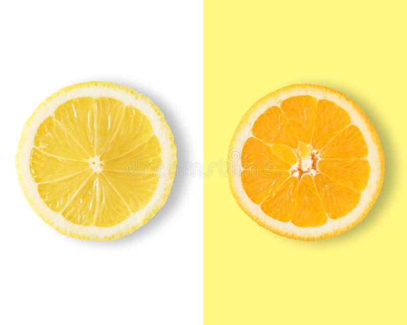 Kreatywnie układ robić cytryna i pomarańcze obraz stock