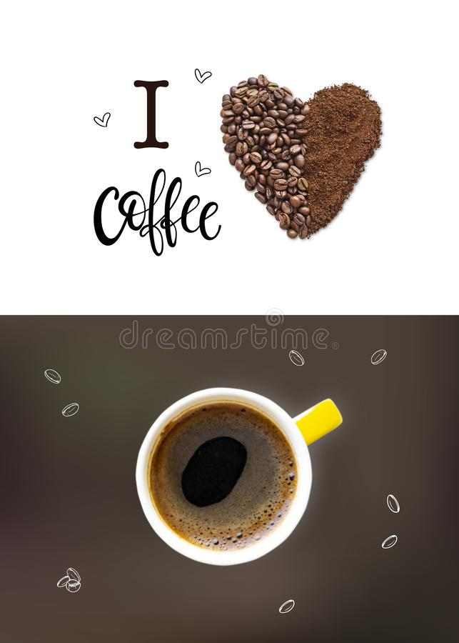 Kreatywnie układ robić kawowe fasole i kawa proszek zdjęcia royalty free