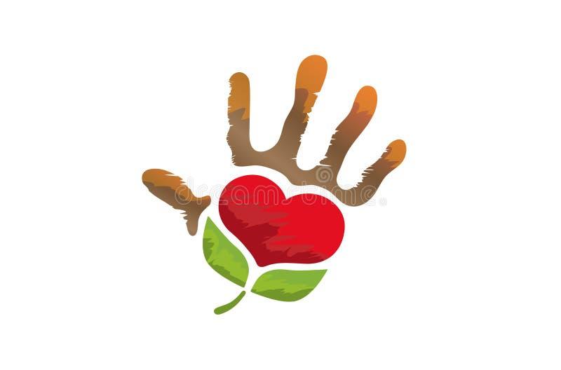 Kreatywnie Unikalna ręka Z Symbolicznym Zielonym sercem Wśrodku loga ilustracja wektor