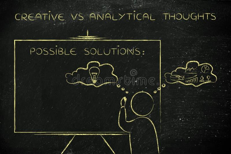Kreatywnie vs analytical myśli: mężczyzna writing na blackboard zdjęcia royalty free