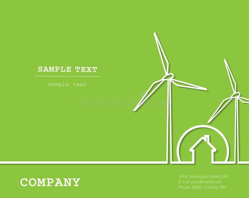 Kreatywnie wektor z silnikami wiatrowymi, dom energia odnawialna ilustracja wektor
