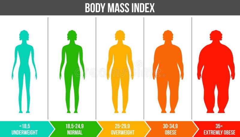 Kreatywnie wektorowa ilustracja bmi, ciało masy wskaźnika infographic mapa z sylwetkami i skala odizolowywająca dalej, royalty ilustracja