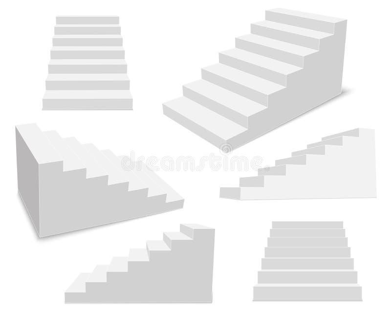 Kreatywnie wektorowa ilustracja 3d wewnętrzni schody, biała dekoracje odizolowywająca na przejrzystym tle Sztuka projekta schodkó ilustracja wektor