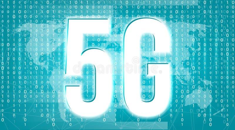 Kreatywnie wektorowa ilustracja 5G sygnału przekazu technologia, nowy bezprzewodowy interneta wifi związku tło sztuka royalty ilustracja