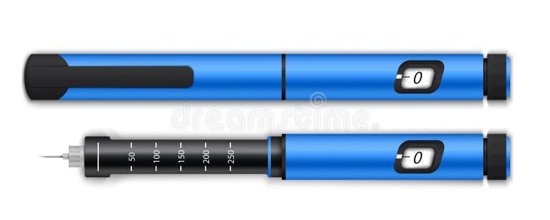 Kreatywnie wektorowa ilustracja insuline pióra wyposażenie dla cukrzyków na tle i glikozy równy badanie krwi sztuka ilustracja wektor