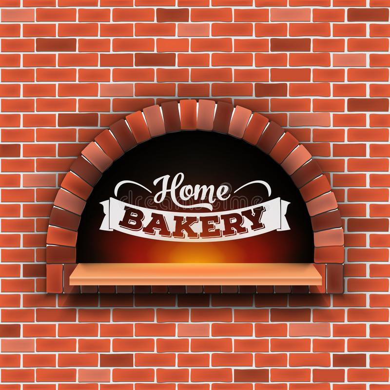 Kreatywnie wektorowa ilustracja kamienna cegła, pizzy łupki piekarnik z ogieniem odizolowywającym na przejrzystym tle sztuka royalty ilustracja