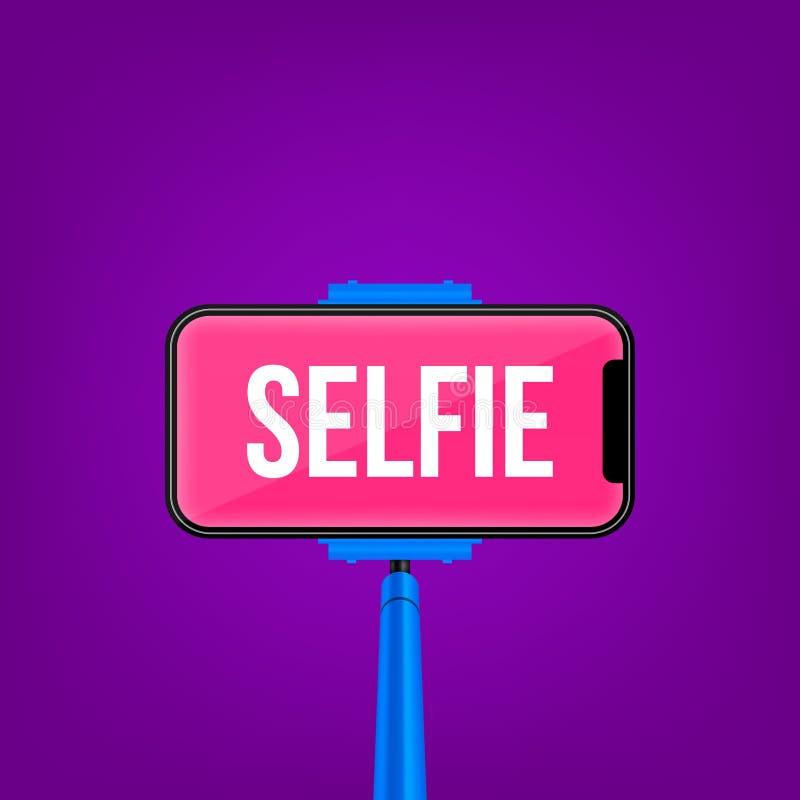 Kreatywnie wektorowa ilustracja monopod selfie kij z pustym telefon wiszącej ozdoby ekranem odizolowywającym na przejrzystym tle ilustracji