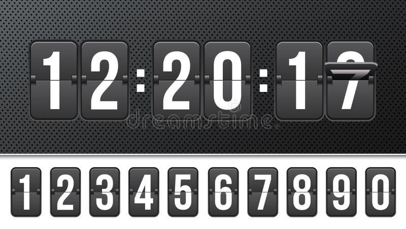 Kreatywnie wektorowa ilustracja odliczanie zegar z różnymi liczbami odizolowywać na tle Zegarowego kontuaru sztuki projekt Abstra royalty ilustracja