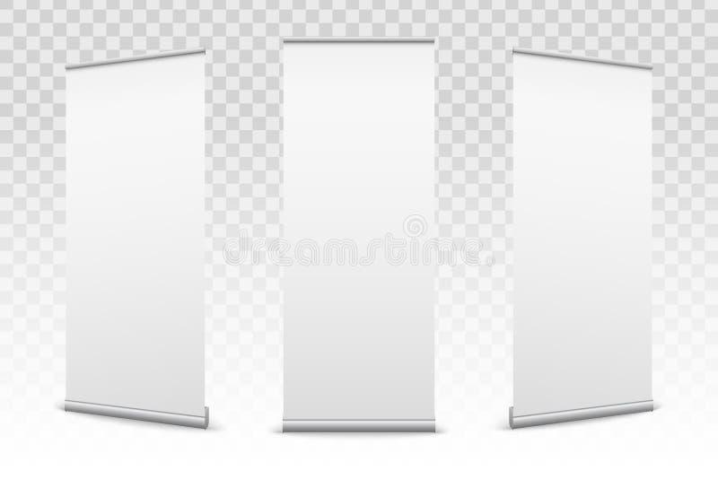 Kreatywnie wektorowa ilustracja pusty stacza się up sztandary z papierową brezentową teksturą odizolowywającą na przejrzystym tle ilustracja wektor