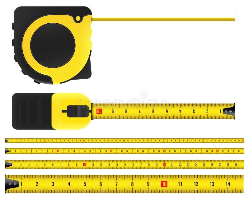 Kreatywnie wektorowa ilustracja taśmy miara, pomiarowy narzędzie, władca, metr odizolowywający na przejrzystym tle sztuka ilustracji