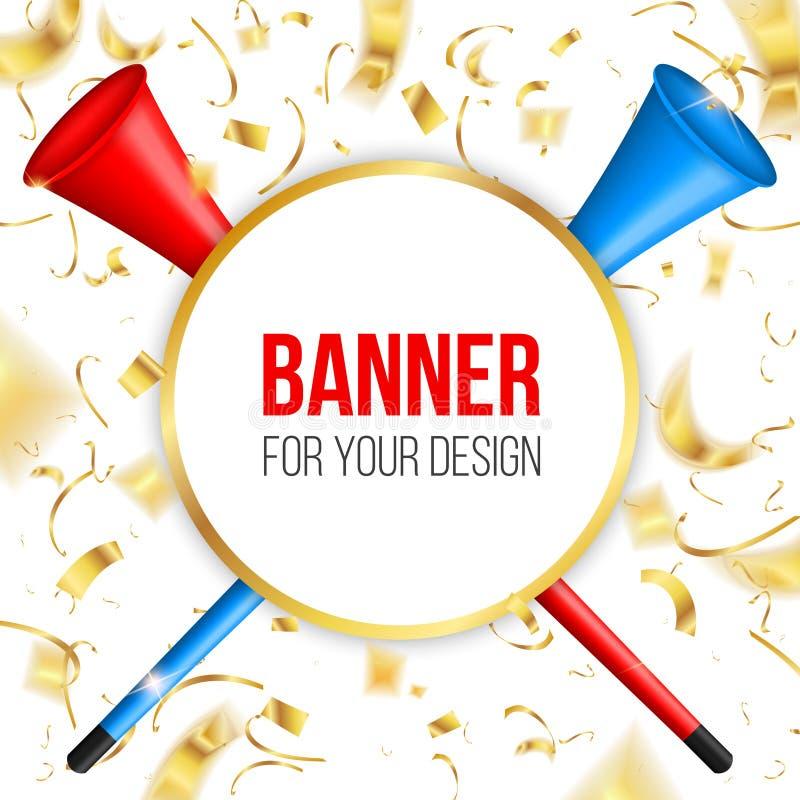 Kreatywnie wektorowa ilustracja vuvuzela trąbka, drymba, gądziel dla piłki nożnej, fan piłki nożnej odizolowywający na przejrzyst ilustracja wektor