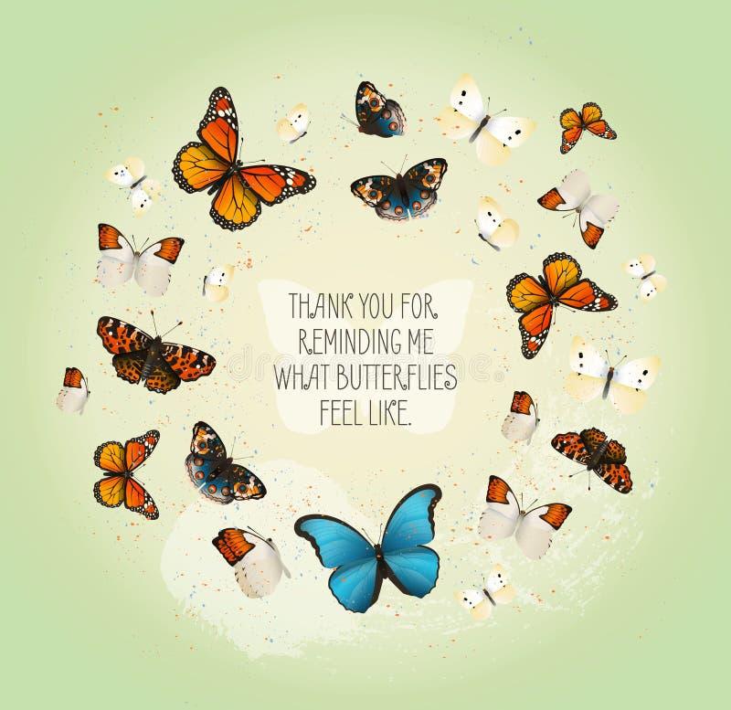 Kreatywnie wektorowa inspiracyjna karta z latającymi motylami w okręgu na ładnym rocznika tle ilustracji