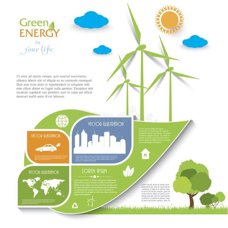 Kreatywnie wektorowy Infographic projekt z silnikami wiatrowymi ilustracja wektor