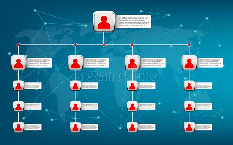 Kreatywnie wektorowy nowożytny stylowy ilustracyjny korporacyjny organizacyjnej mapy obruszenie odosobniony na tle Biznesowy prac ilustracji
