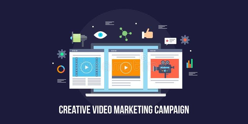 Kreatywnie wideo produkcja, wideo kampania marketingowa, ogólnospołeczny medialnej reklamy pojęcie Płaski projekta wektoru sztand ilustracja wektor