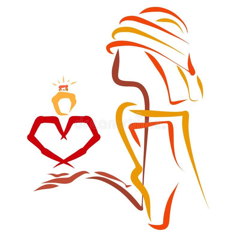 Kreatywnie wizerunek mężczyzna w miłości z sercem r i zobowiązaniem ilustracja wektor