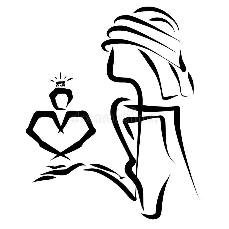 Kreatywnie wizerunek mężczyzna z sercem i pierścionkiem zaręczynowym w h royalty ilustracja