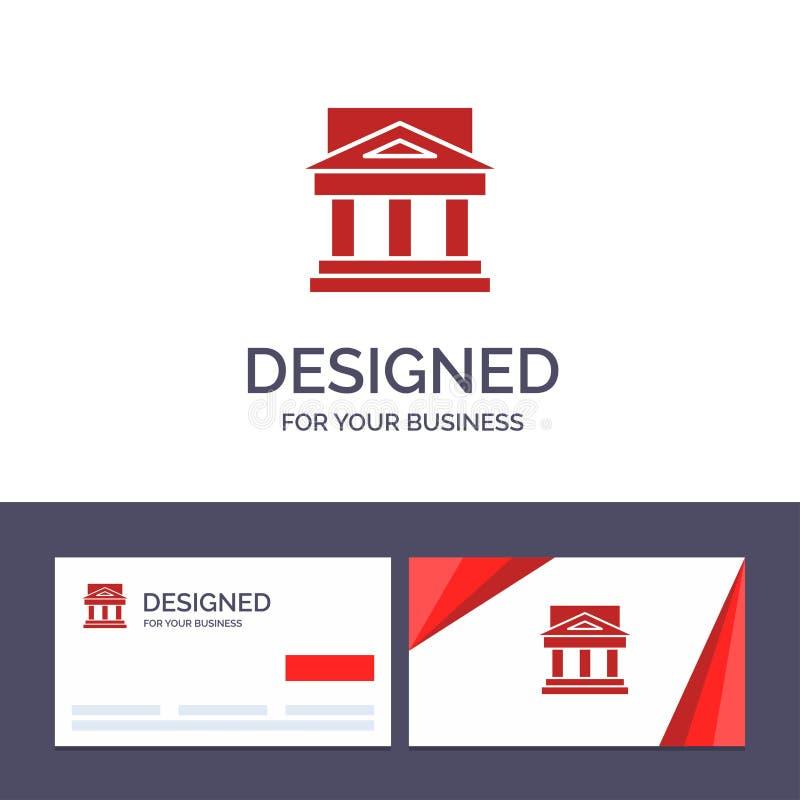 Kreatywnie wizytówki i logo szablon Deponuje pieniądze, architektura, budynek, sąd, nieruchomość, rząd, dom, Majątkowy wektor royalty ilustracja