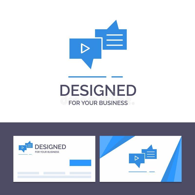 Kreatywnie wizytówki i logo szablon Gawędzi, związek, marketing, przesyłanie wiadomości, mowa wektoru ilustracja royalty ilustracja
